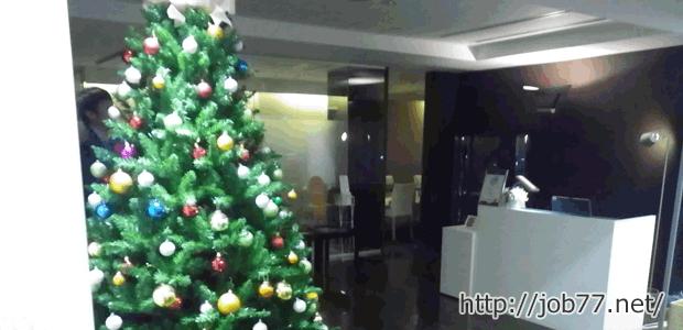 面談が行われる3階受付前のクリスマスツリー